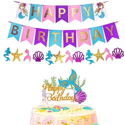 RUBFAC Mermaid Happy Birthday Banner and Glitter Mermaid Cake Topper for Birthday Party Decorations