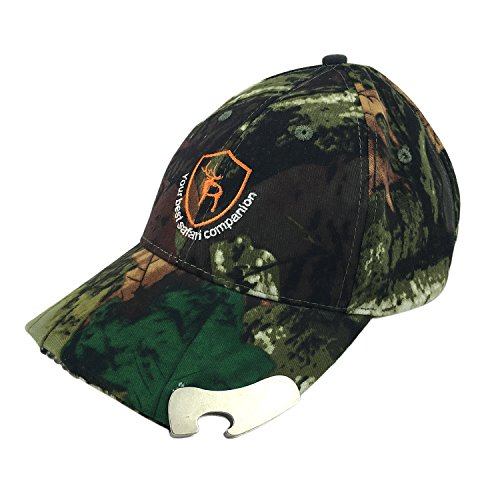 TOURBON Camouflage Tactical Hunting Hat LED Cap with Beer Bottle Opener ()