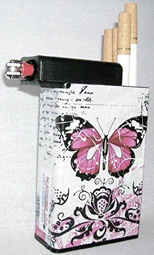 Designer Cigarette Case - Cigarette Case Built on Lighter Holder Compartment Choose Designs