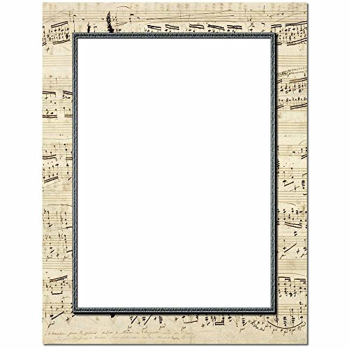 Music Letterhead Laser & Inkjet Printer Paper, 100 pack Border Letterhead 100 Sheets