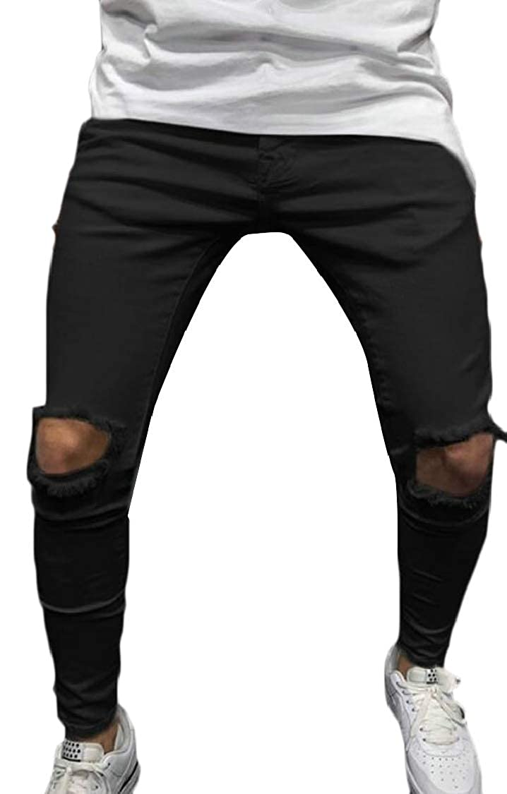 Lutratocro Men Cut Off High Waist Sport Denim Destroyed Jogger Pants
