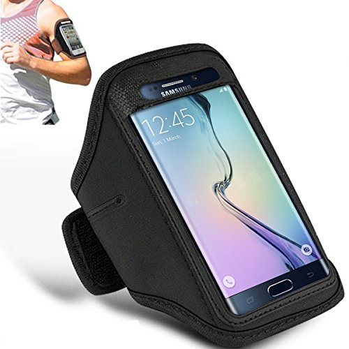 Price comparison product image Samsung Galaxy S6 - Adjustable Armband Gym Running Jogging Sports Case Cover Holder + Polishing Cloth ( Black )