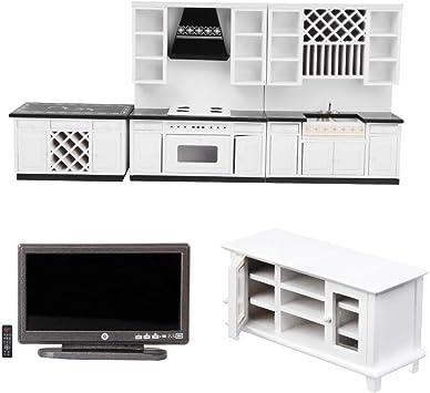 Amazon.es: NON MagiDeal Miniatura Set de Muebles de Cocina y Sala de Estar para 1/12 Dollhouse: Juguetes y juegos