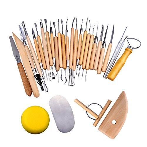 eBoot 30 Pieces Pottery Tools Set Wooden Sculpting Clay Carving Tool