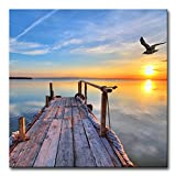 My Easy Art? Modern Canvas Painting Wall Art The Picture for Home Decoration Pier with Bird Flying and Colourful Sky at Sunset Lake Landscape Print On Canvas Giclee Artwork for Wall Decor