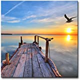 Modern Canvas Painting Wall Art The Picture For Home Decoration Pier With Bird Flying And Colourful Sky At Sunset Lake Landscape Print On Canvas Giclee Artwork For Wall Decor