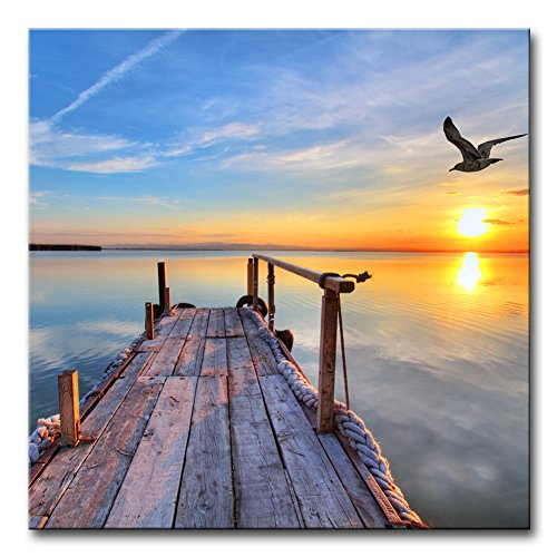 Modern Canvas Painting Wall Art The Picture For Home Decoration Pier With Bird Flying And Colourful Sky At Sunset Lake Landscape Print On Canvas Giclee Artwork For Wall Decor (Sun Framed)