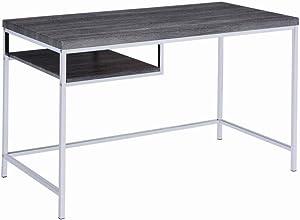 Coaster Home Furnishings Rectangular Writing Desk with Shelf Weathered Grey and Chrome