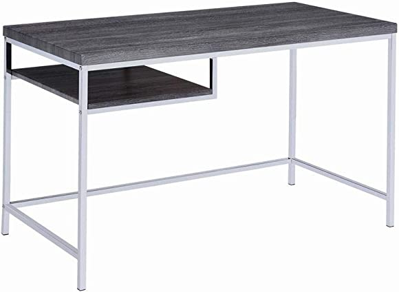 Coaster Home Furnishings Rectangular Writing Desk with Shelf Weathered Grey and Chrome
