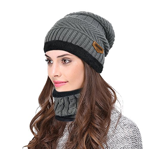(Hellofuture Beanie Hat Skull Cap Warm Knit Hat Scarf Set For Men and Women Christmas Gift Set (Dark Gray))