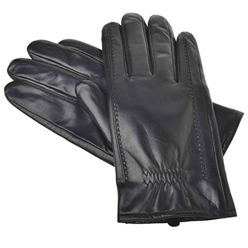 YISEVEN Men's Buttery-Soft Lambskin Leather Gloves Fleece Lined for Spring or Winter Hand Warm Fur Heated Lining Dress and Motorcycle Driving Real Luxury Stylish Holiday Xmas Gift, Black (Lined Lamb Dress Glove)