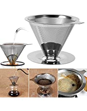 iFCOW Rvs Koffiefilter Herbruikbare Dubbellaags Mesh Giet Over Cone Koffiefilter Koffie Druppelaar voor Thuiskantoor Gebruik