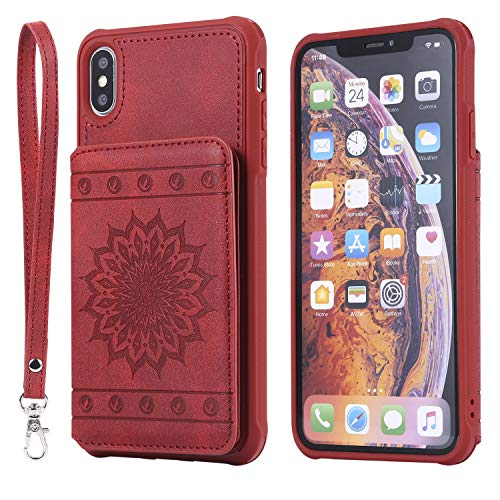 DAMONDY iPhone Xs Max Case,Luxury Flower Sunflower Wallet Purse Card Holders Design Cover Soft Shockproof Bumper Flip Leather Kickstand Clasp Wrist Strap Case for iPhone Xs Max 6.5 Inch-Red