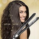 Professional Steam Ceramic Hair Straightener Flat Iron,Hair Salon Steam Styler Ionic Steamer 3-in-1,Straightner Curler Flip-up   For Argan Oil Hair Treatment Vapor,250°F-450°F For Dry & Wet Hair