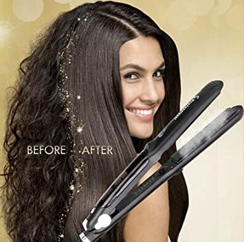 Professional Steam Ceramic Hair Straightener Flat Iron,Hair Salon Steam Styler Ionic Steamer 3-in-1 Straightner Curler Flip-up For Argan Oil Hair Treatment Vapor 250 F-450 F For Dry Wet Hair