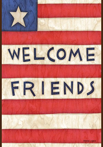 Toland Home Garden  Patriotic Welcome Friends 12.5 x 18-Inch