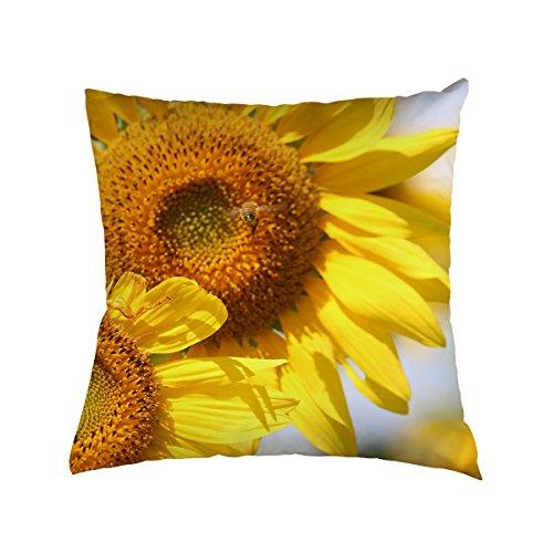 Sunflower Throw Pillow Case Golden Sunflower Home Decorative Throw Pillow Cover Peach Skin Pillow Case PC 03 (03 Peach Satin)