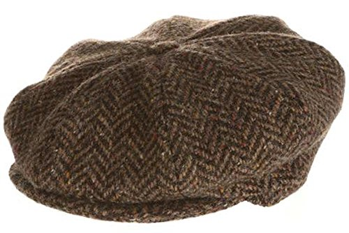 Hanna Hats Men's Donegal Tweed 8 Piece Cap Newsboy Cap (Medium, Brown Herringbone)