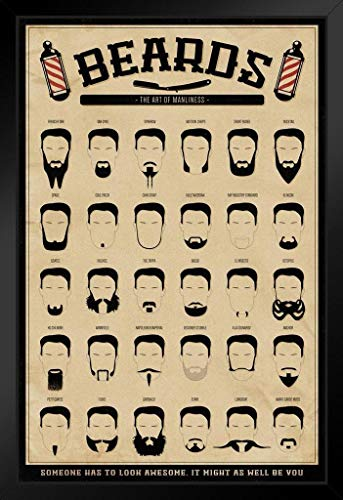 Pyramid America Beards The Art of Manliness Framed Poster 12x18 -