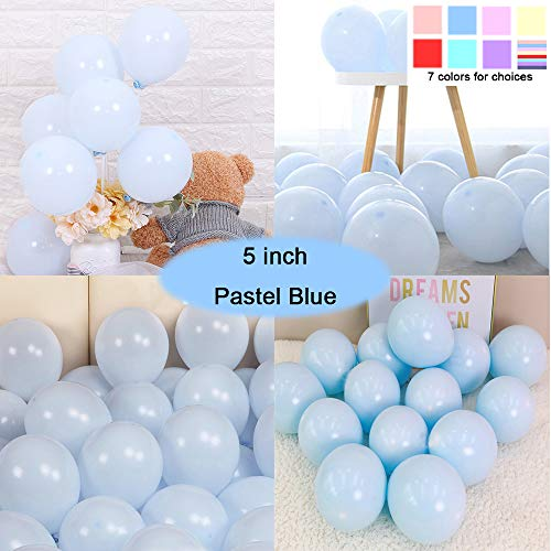 (Party Pastel Balloons 200 pcs 5 inch Macaron Candy Colored Latex Balloons for Birthday Wedding Engagement Anniversary Christmas Festival Picnic or any Friends & Family Party Decorations-pastel blue)