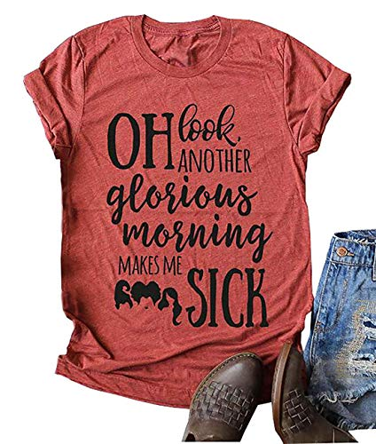 Oh Look Another Glorious Morning Makes Me Sick Shirt Women Halloween Letter Print Short Sleeve T-Shirt (Orange, XL) (Oh Look Another Glorious Morning Makes Me Sick)