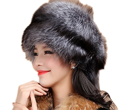 YR Lover Women's Fox Fur Trapper Hats Warm Earmuffs Thicken Beret Caps