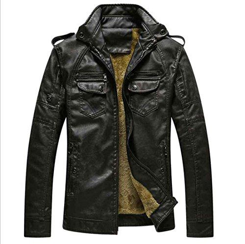 casual soporte larga de Chaqueta simple corto PJK diario manga hombre PU 2xl para invierno cuero sólido black abrigo de 8w7WZOq1w
