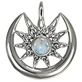 Sterling Silver Sun Burst and Crescent Moon Pendant with Rainbow Moonstone