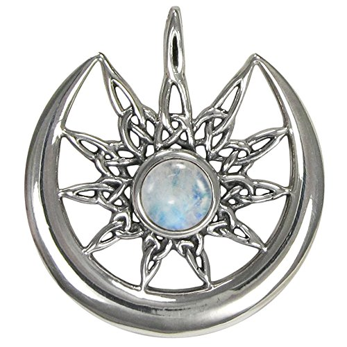 Burst and Crescent Moon Pendant with Rainbow Moonstone ()