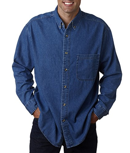 (Ultra Club Men's Tall Long Sleeve Denim Shirt with Pocket, XLT, Indigo)