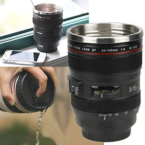 MAZIMARK-Camera Lens Cup 24-105 Coffee Travel Mug Thermos Stainless Steel& Leak-Proof Lid by MAZIMARK