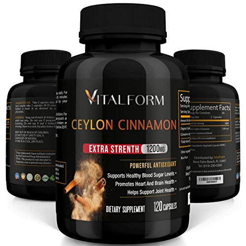 VitalForm Cinnamon Capsules - Organic Ceylon Cinnamon - 120 Ceylon Capsules - Supports Healthy Glucose Balance- Blood Sugar Support - Cinnamon Supplements - 1200 mg