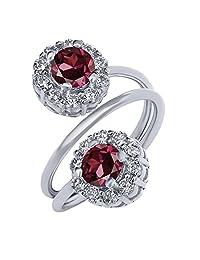 1.88 Ct Round Red Rhodolite Garnet 925 Sterling Silver Ring