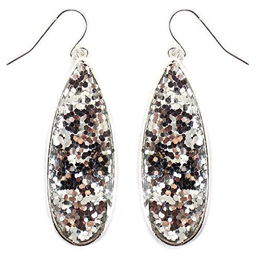 Tear Drop Glitter Fish Hook Earrings