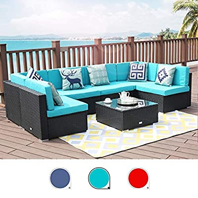 LUCKWIND Patio Conversation Sectional Sofa Chair Table - 7 Piece All-Weather Black Checkered Wicker Rattan Seating Cushion Patio Ottoman Modern Glass Coffee Table Outdoor Accend Pillow 300lbs
