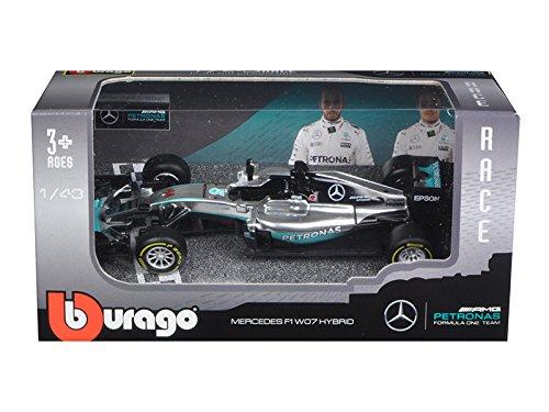 (Bburago Mercedes AMG Petronas F1 W07#44 Hybrid Lewis Hamilton F1 Formula 1 Car 1/43 Diecast Model Car by 38026LH)