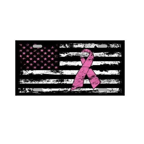 Vintage American Flag Pink Ribbon Breast Cancer