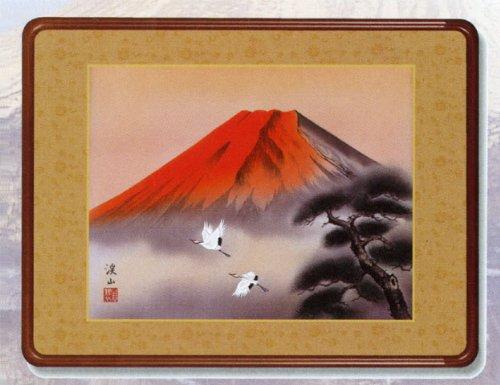 赤富士飛鶴洛彩緞子額表装伊藤渓山三美会 B006FVVREG