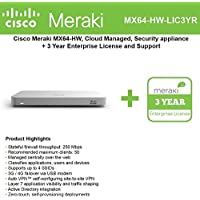 Cisco Meraki MX64 Small Branch Security Appliance Bundle, 200Mbps FW, 5xGbE Ports - Includes 3 Years Enterprise License