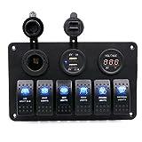 Rocker Switch, Han Shi IP68 6 Gang Waterproof Car Auto Boat Marine LED Rocker Switch Panel Circuit Breakers