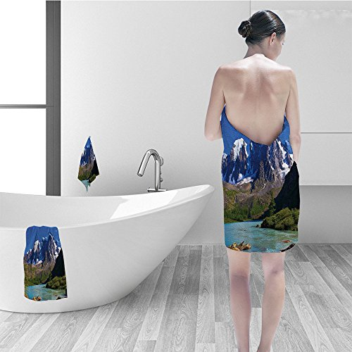 Price comparison product image Nalahomeqq Hand towel set Lake House Decor Snowy Mountaintops Bustling River Pine Trees Rocks Grass Clouds Shrubs Bathroom Accessories Blue Green White Gray