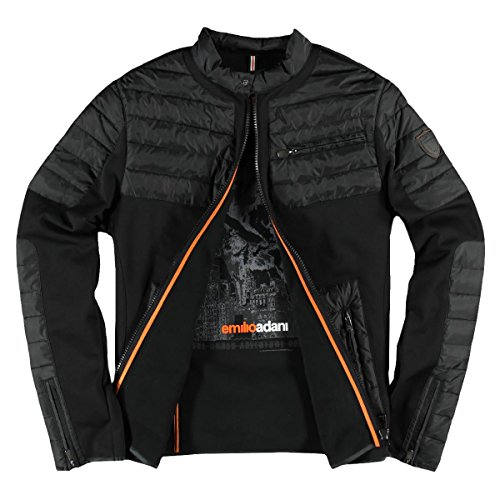 emilio adani Herren Indoor Jacke im Bikerstil, 23961, Schwarz