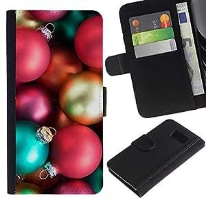 KingStore / Leather Etui en cuir / Samsung Galaxy S6 / Vacaciones de Navidad Decoraciones de Navidad de invierno