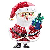 ACCESSORIESFOREVER Christmas Jewelry Crystal Rhinestone Happy Santa Claus Tree Brooch Pin BH117 Red