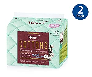 "WOW Cotton Sanitary Pads Menstrual Regular Ultra Thin Sanitary Napkins With Wing 100% Cotton For Sensitive skin 9.8""(25cm) Pack of 2 (24 Total)"