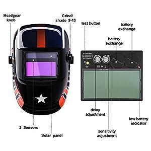 Welding Helmet Auto Darkening Solar Powered Hood with Adjustable Shade Range 4/9-13 for Mig Tig Arc Welder Mask (Star) from ZUISU SHOP