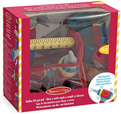 Melissa /& Doug Toolbox Fill and Spill Toddler Toy with Vibrating Drill 9 pcs