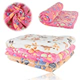 iNNEXT Puppy Blanket Pet Cushion Small Dog Cat Bed Soft Warm Sleep Mat, Pet Dog Cat Puppy Kitten Soft Blanket Doggy Warm Bed Mat Paw Print Cushion