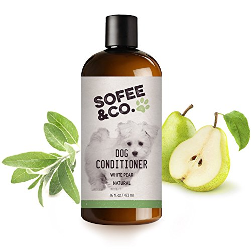Sofee & Co. Natural Dog Puppy Conditioner, White Pear - Moisturize Detangle Deodorize Condition Calm Soothe Soften Normal Dry Itchy Allergy Sensitive Skin. Prevent Mattes. 16 oz (Co Dog Toy)