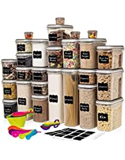 Largest Set of 52 Pc Food Storage Containers (26 Container Set) Shazo Airtight Dry Food Space Saver w Interchangeable Lid, 14 Measuring Cups + Spoons, Labels + Marker - One Lid Fits All - Reusable